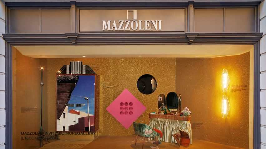 The front window of Mazzoleni's Mayfair gallery in London featuring the interior assemblage work of Dimore Studio.