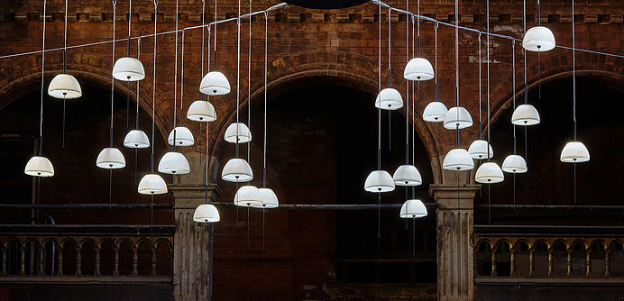 Nir Meiri 'SeaSalt' pendant lights where displayed en-masse at a former Welsh Presbyterian Chapel near Cambridge Circus.