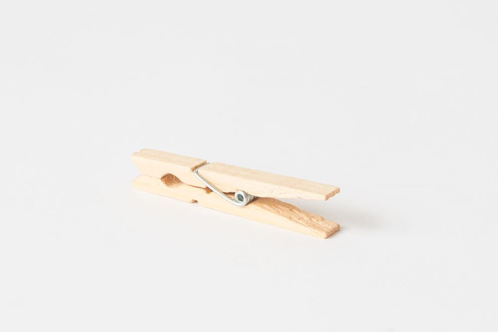 Wooden spring loaded clothes peg selected by Adam Goodrum for Nic Rennie's exhibition  Undervalued .