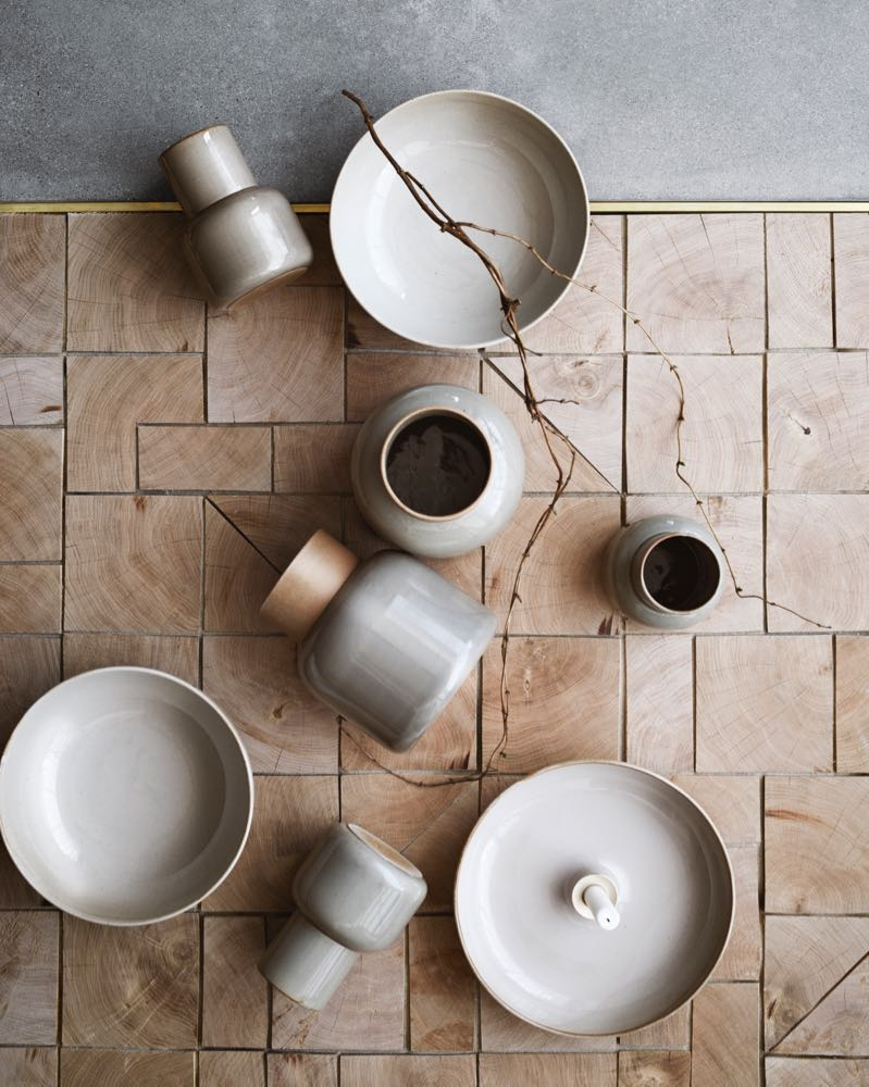 Manz's 'Earthenware' ceramics range for Fritz Hansen. Beguiling shapes and soft colour.