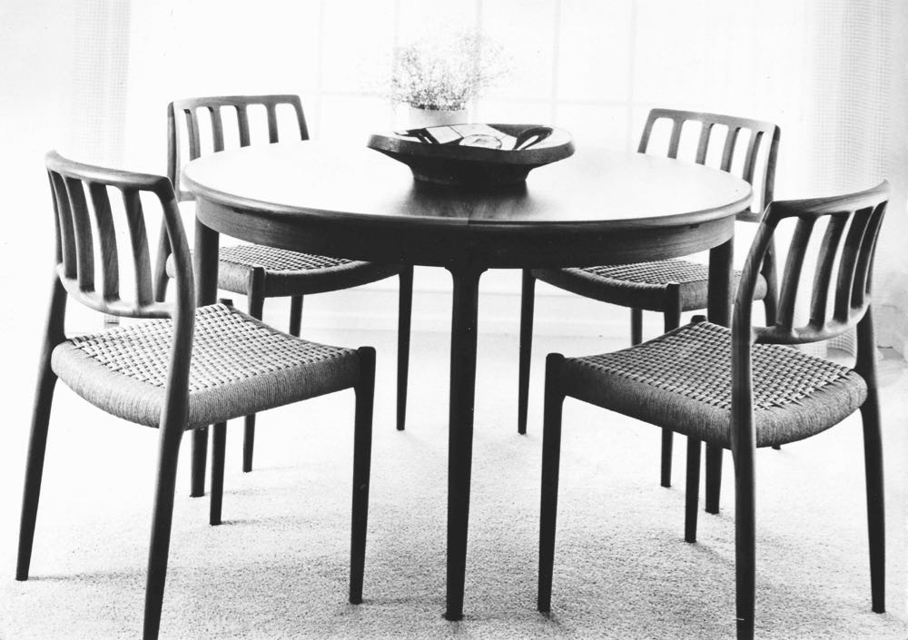 An archive image of the Model 83 chair designed by Niels O. Møller in 1974. Each seat requires 130 metres of paperboard.