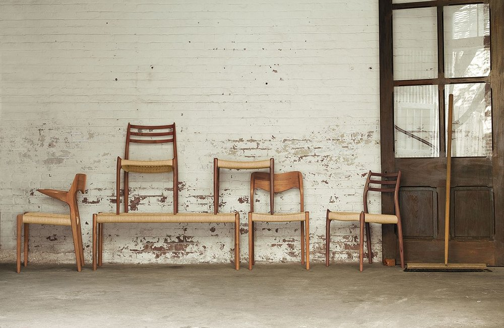 Some of the current JL Møller range. From L to R: Model 55 chair, Model 78 chair on Model 63 bench, Model 80 A stool on Model 71 chair and a second Model 78 chair. Image courtesy of Design Within Reach.