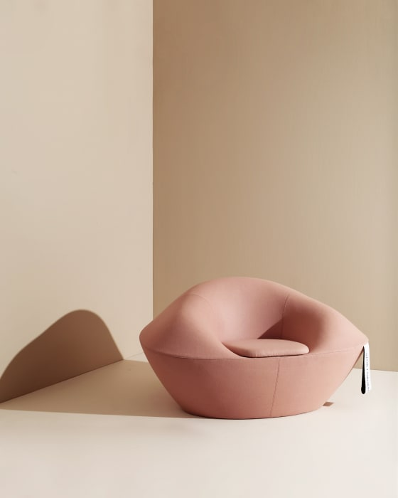 'Fortuna' armchair by Hanna Stenström and Jenny Aden for Materia. Inspired by the shape of the Chinese fortune cookie. Photo Rikard Lilja.