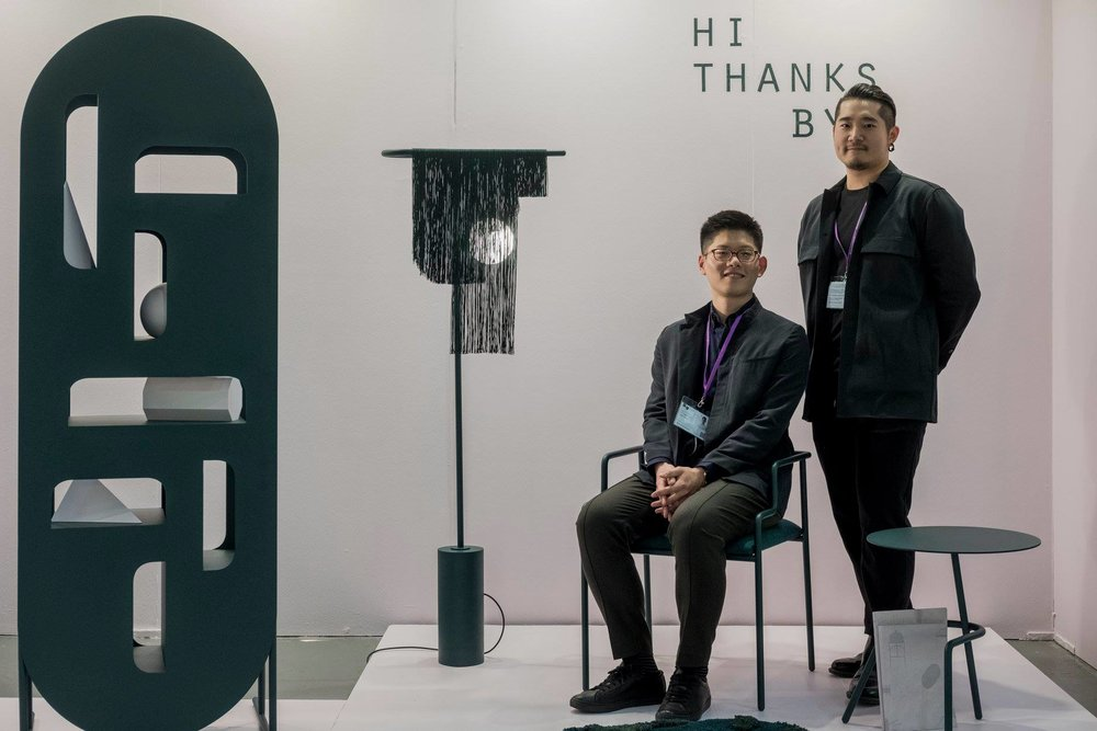 Three of six objects that form the  'O'  collection by Toronto based studio Hi Thanks Bye with the studio's founders, Stein Wang (left) and Topher Tong.
