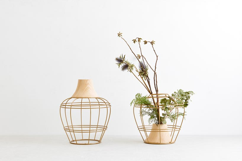 Kimu Design 'New Old Vase' - a poetic vase concept in turned timber and metal.