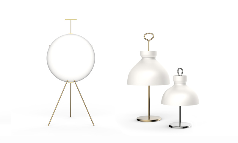 Tato's  new edition of Gio Ponti's 'Luna' light (left) from 1957. The brand is also re-editioning a table 'Piedi Regolabili' and 'Alzabile' floor lamp by Ignacio  Gardella  – from 1957 and 1948 respectively. Tato are based in Novara - a town just outside of Milan.