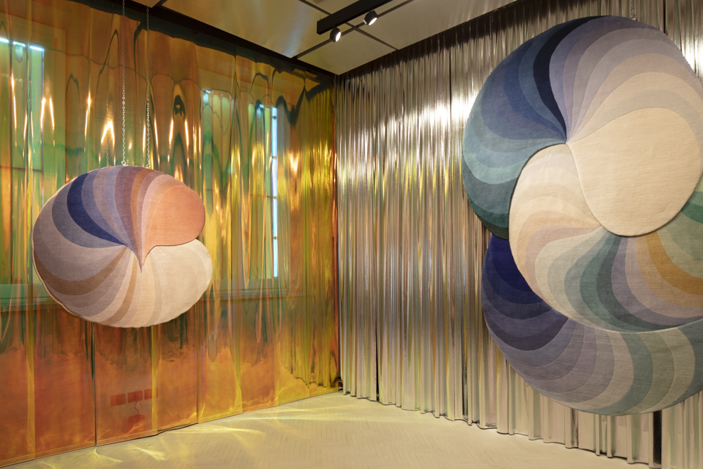 Two of the three Patricia Urquiola designed rugs from the 'Slinky' collection for cc-tapis.