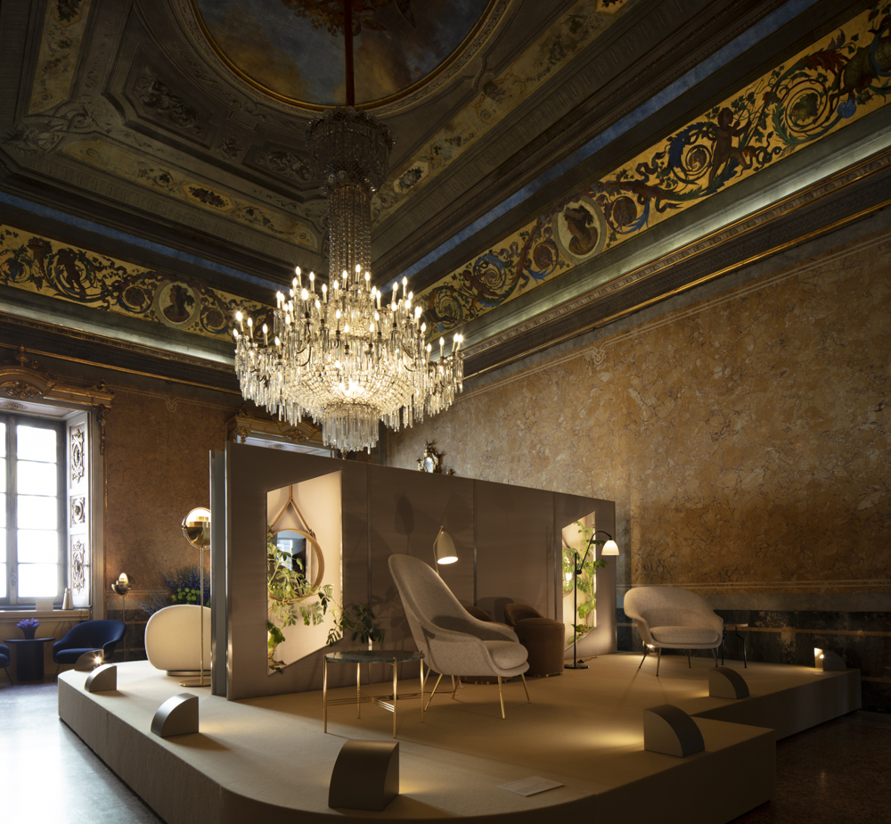 Palazzo Serbelloni paid host to Danish brand Gubi as they released a HUGE number of new products. Shown here are the new 'Bat' armchairs by GamFratesi that reinterpret the lines of Eero Saarinen's 'Womb' chair.