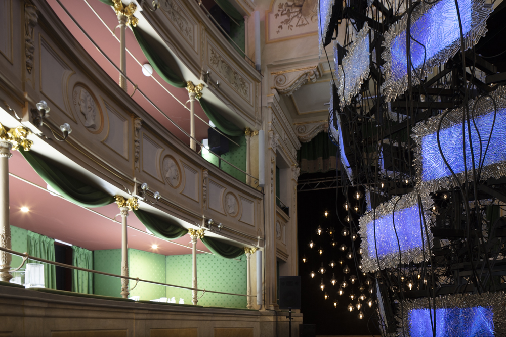 Monster Cabaret , created by Czech lighting brand Lasvit was a interactive event with burlesque performances and live music  within Teatro Gerolamo - a miniature version of the famous Teatro alla Scala built in 1868. The show won the 2018 Milan Design Award for best event of Fuorisalone.