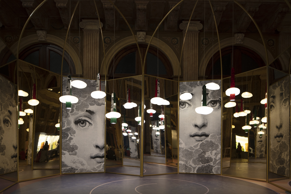 Fornasetti's 'Through the Clouds' pendant light at the WonderGlass  Kosmos  show at Istituto dei Ciechi in San Babila.