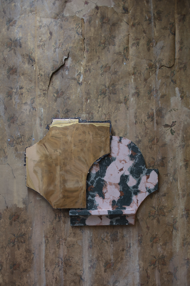 Roberto Sironi at Unsighted - an exhibition curated by Nicolas Bellavance-Lecompte. The 'Hubert' bronze mirror is combined with handprinted stone from Marmo Artificiale di Roma and is from the  Ruins  collection.
