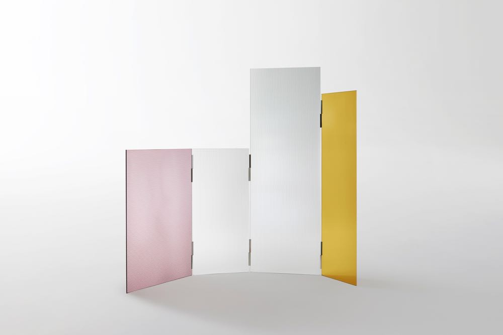 'Rayures' screen in hinged ribbed glass by Ronan & Erwan Bouroullec for GlasItalia.