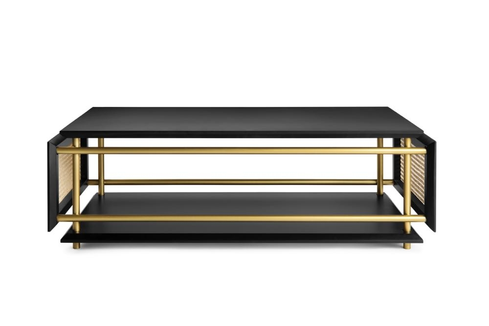 'Wienerbox'coffee table by Argentinian designer  Cristian Mohaded  for  Gebrüder Thonet Vienna (GTV).  The table features criss-crossing brass rods and woven split cane in the traditional Vienna pattern.