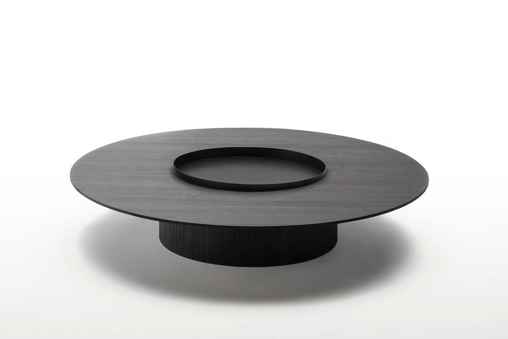 The 'Tethys' table by  Gabriele & Oscar Buratti  for  Living Divani . Proportions and simple material combinations drive this coffee table piece. The metal tray sits within the timber top as if an extension of the base below.