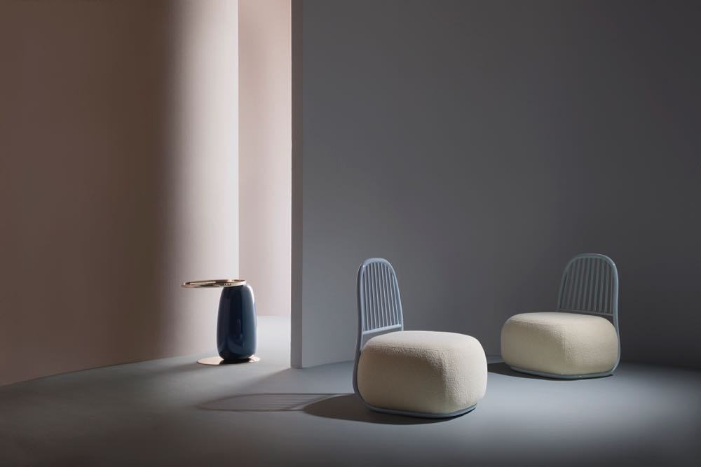 Ini Archibong 's 'Circe' chairs for London brand Sé. The chairs form part of a highly original collection of furniture and lighting by the Swiss-based Nigerian American designer.  The Sé Collection IV  also features the strangely penguin like 'Eos' Table (sheepishly standing in the background).