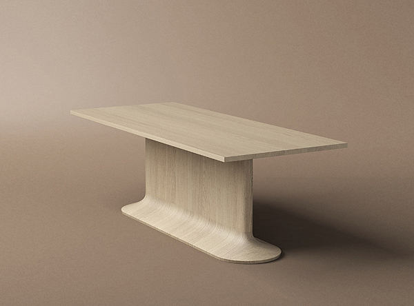 The 'No.ONE' table by Aldo Bakker for  Karakter Copenhagen  - a gorgeous solid wood piece that flows vertically but which has a rigid horizontal top.