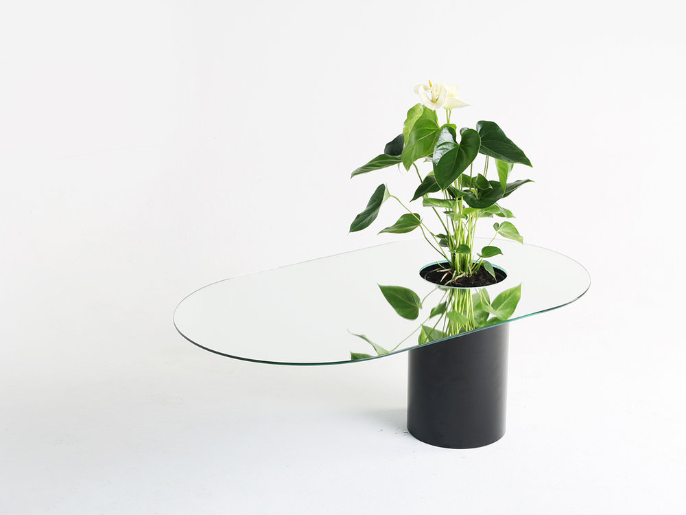 Berlin based designers Beriana showed their series of mirror topped coffee tables called 'Verdable' The tables all feature inbuilt planters bringing greenery right into the living room.