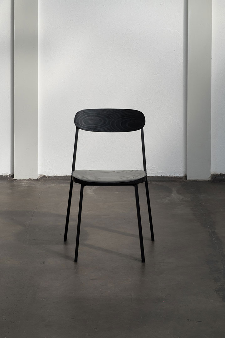 The 'Fond' aluminum stacking chair by Studio Truly Truly.