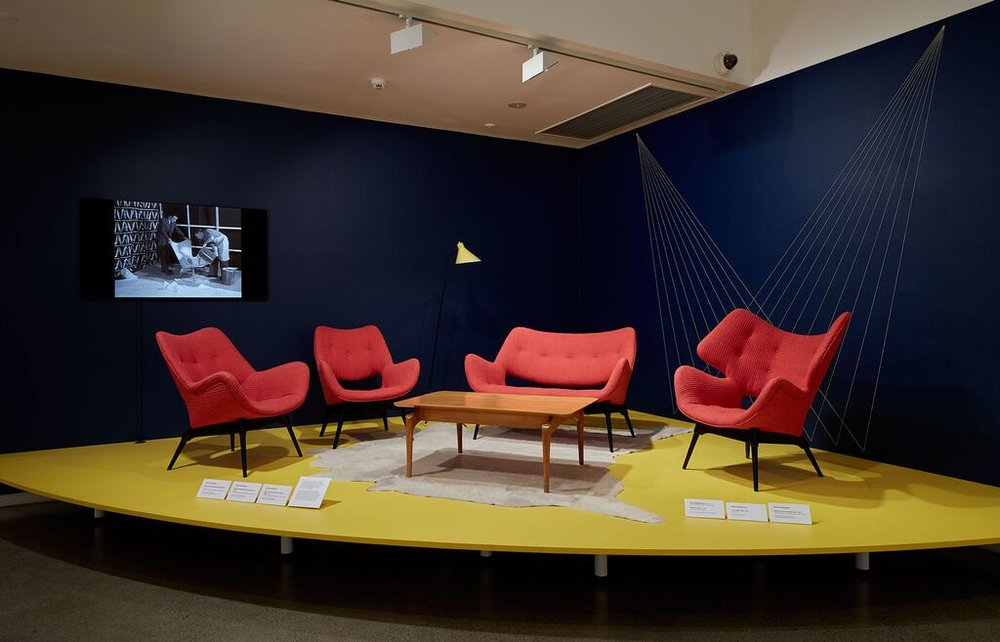 The B210H Television Contour armchair from 1953 (left), the BS211 Contour television settee from 1952 (centre) and the B220H-Curl-up-Contour (right).