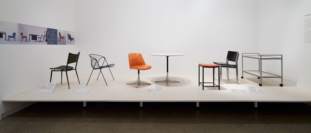 The Mitzi chair from 1957, Wire chair from 1963 (a prototype only later manufactured by Gordon Mather Industries) the Varna table & chair 1966 manufactured by Aristoc. The items on the right are from the Delma range for Aristoc from 1963.