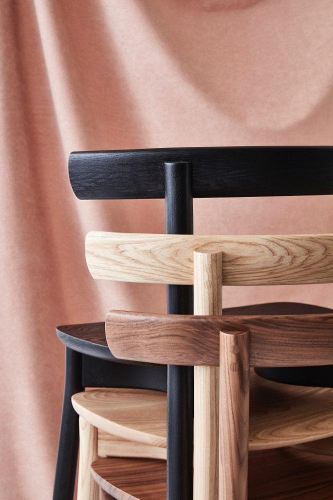 Chris Nicholson's 'Torii' chair for Dessein Furniture showing it's backrest details.