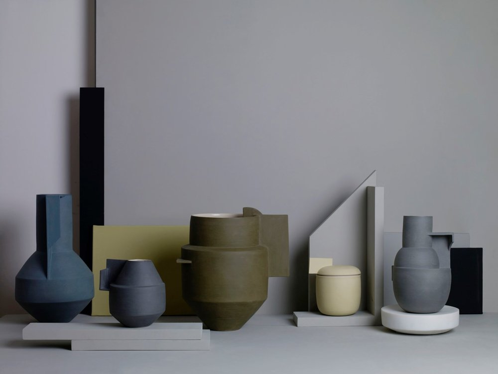 A selection of Derek Wilson's sculpture vessels revealing Wilson's beautiful tonal colour palette. This image is from the exhibition  Constructed Vessels  at Flow Gallery in London, January - April 2018. Photo: Beth Evans, Styling: Sania Pell