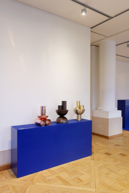 Vase forms in copper bronze and brass at Atelier Francois Pouenat's Series 1 exhibition at Joyce Gallery.