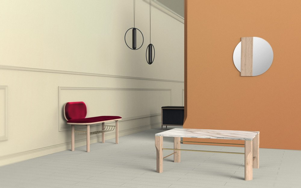 French brand Harto launched several new pieces including the 'Eustache' bench (left) and 'Josephine' coffee table (right), seen here with 'Charlotte' mirror by Charlotte Juillard.