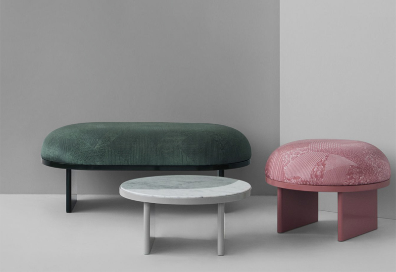 'Anza' bench, stool and side table by Rui Pereira and Ryosuke Fukusada for Please Wait To Be Seated.
