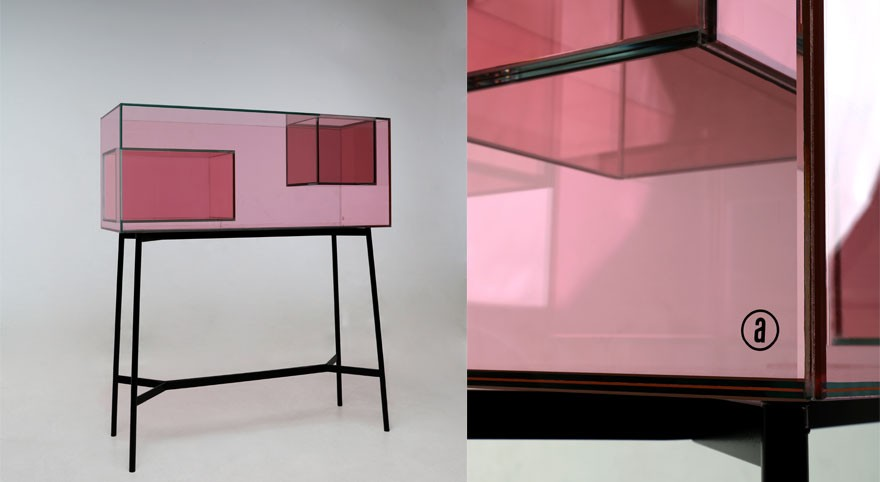 Ablehne Reschke's 'Floating Boxes' display cabinet in rose coloured glass. Reschke was shortlisted in the Pure Talents competition at imm Cologne 2019.