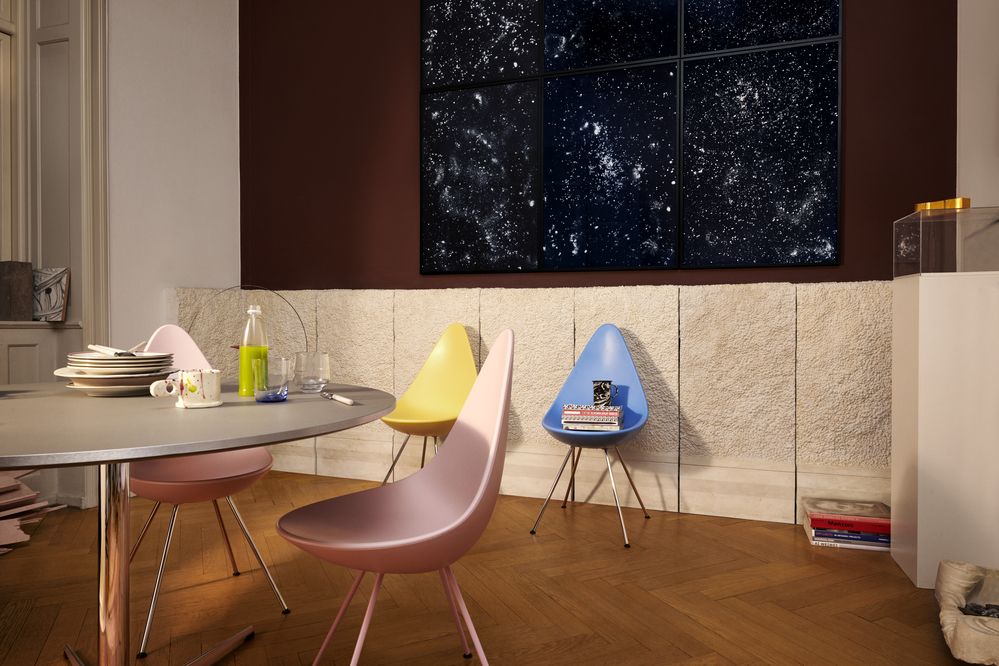 The new colours available in Arne Jacobsen's 'Drop' chair from 1958.