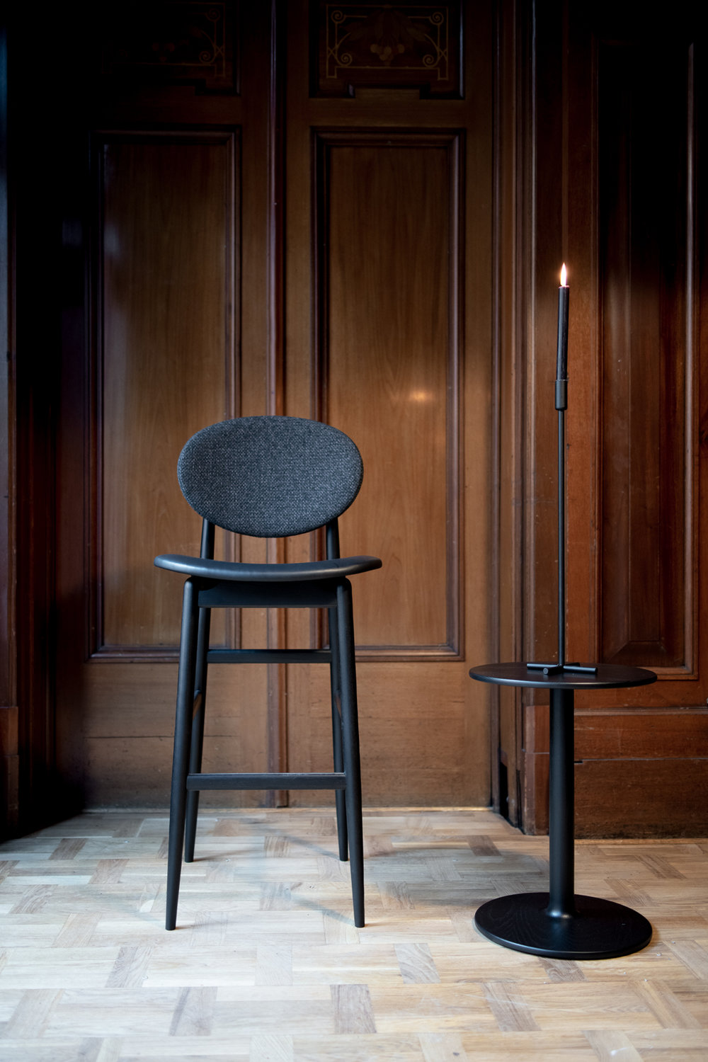 The 'Outline' chair by Norm Architects for Ariake now has a barstool variant (shown here with the 'Taio' side table by Anderssen & Voll). Photograph by Sebastian Stadler.
