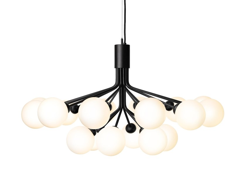 Danish brand Nuura released their new chandelier called by Apailes. Designed by Sofie Refer the light is available with 9 or 18 mouth-blown spherical globes - in brass or satin black.