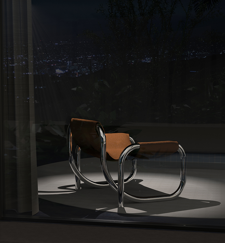 Gabriel Abraham, a former set designer, imagines seating and lighting inspired by Robert Altman's  The Long Goodbye  for Atelier de Troupe. LA NOIR presents lots of chromed steel and leather in extraordinary shapes.