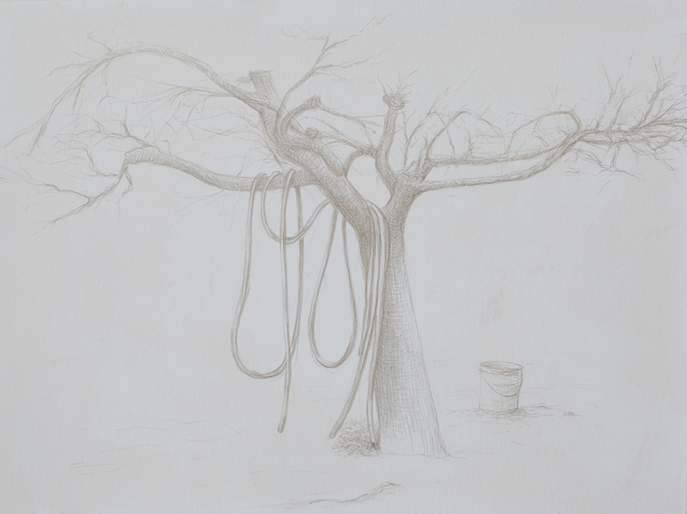 "Valdarno #2 , 2013, silverpoint on paper, 7"" x 9.75"""