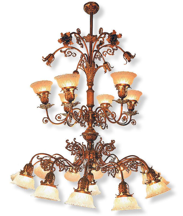 Brass Multi Light Victorian Chandelier Architectural Antiques