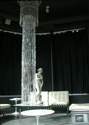 Custom-built crystal light fixture at Denny Kemp Salon - Minneapolis, MN