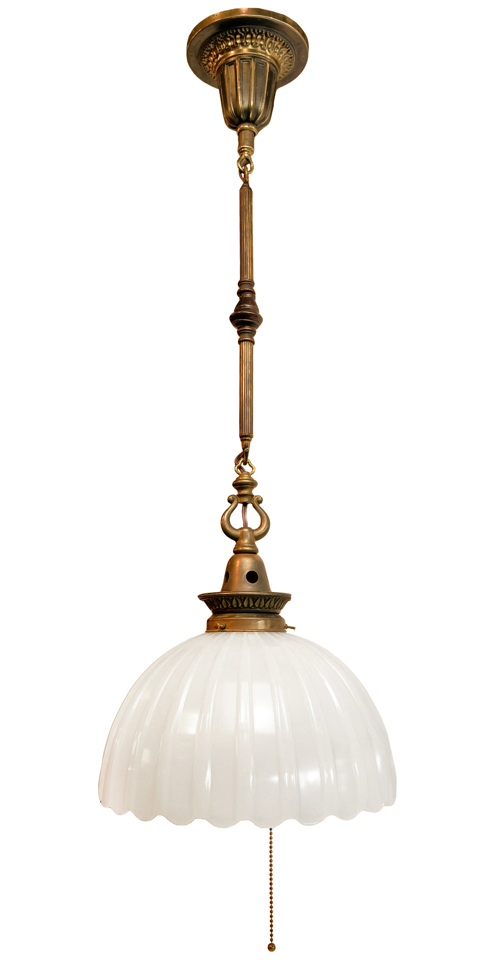 BRASS PENDANT WITH MILK GLASS SHADE
