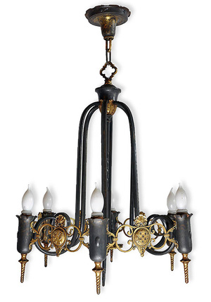 Six light brass and iron gothic chandelier architectural antiques six light brass and iron gothic chandelier aloadofball Images