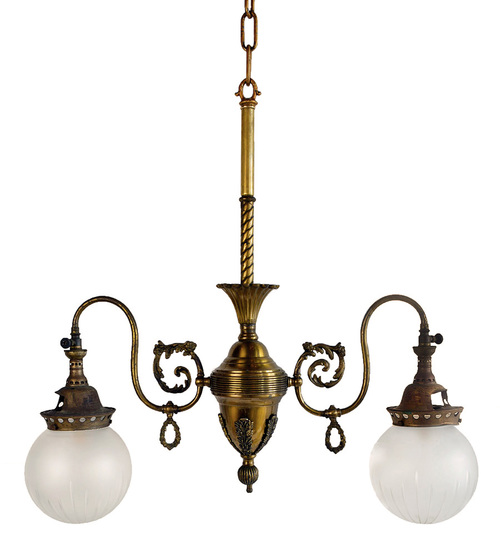 Electric Chandelier Two arm victorian gaselectric chandelier architectural antiques two arm victorian gaselectric chandelier audiocablefo