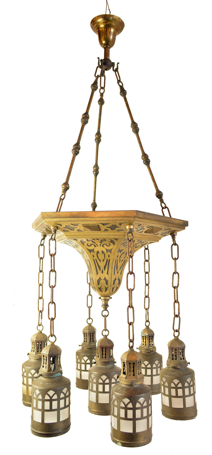 7-LIGHT BRASS FILIGREE CHANDELIER