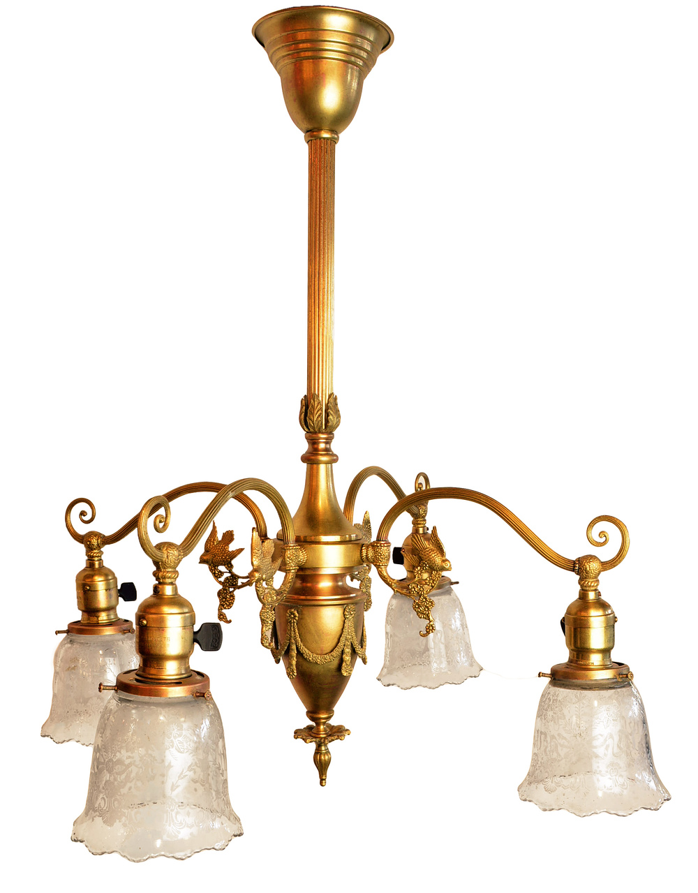 LIGHTOILER BRASS 4-ARM CHANDELIER