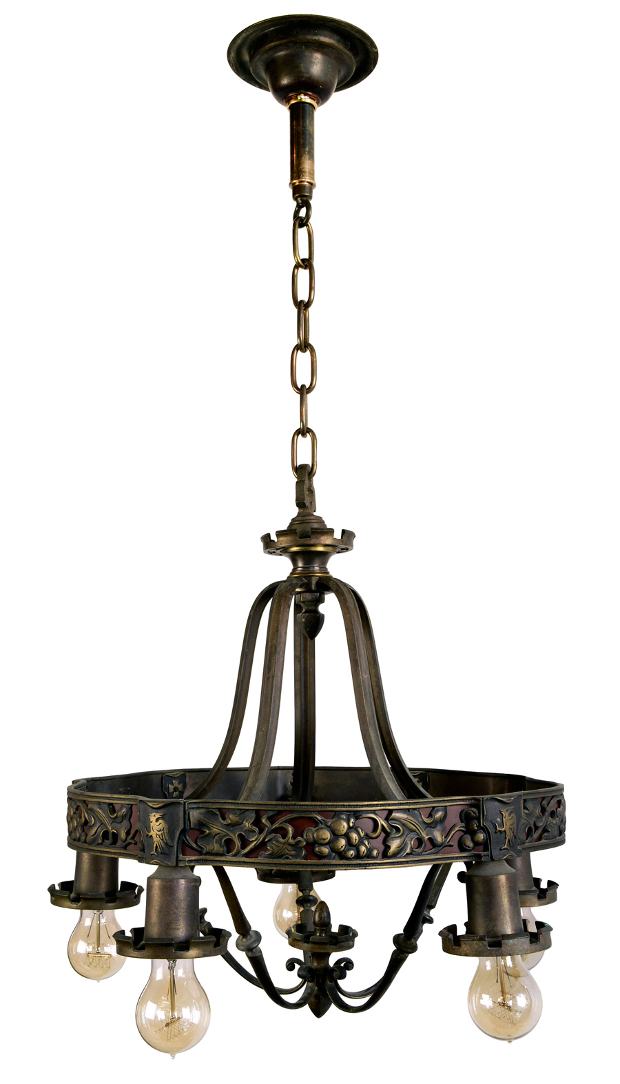 5-LIGHT GOTHIC BRONZE CHANDELIER