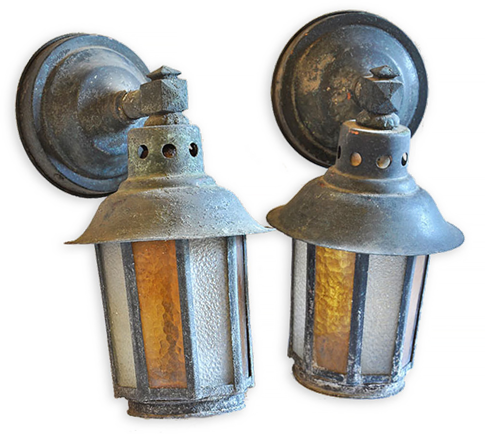 Copper Sconces With Alternating Glass Architectural Antiques
