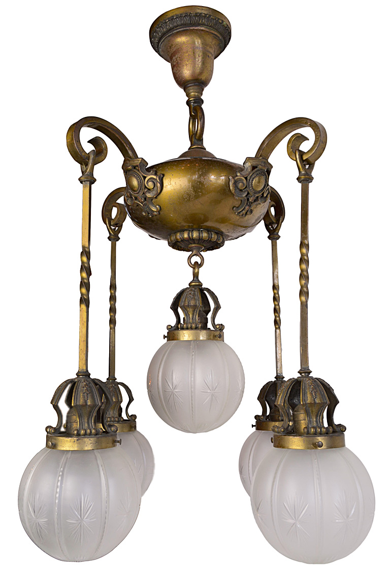FIVE-SHADE BRASS FIXTURE WITH POSTS