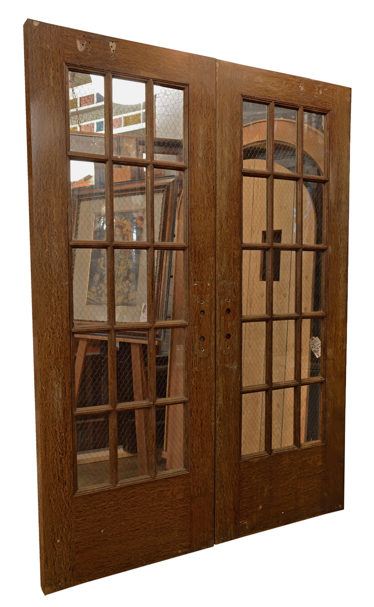 Chicken Wire Glass Panel Doors Architectural Antiques