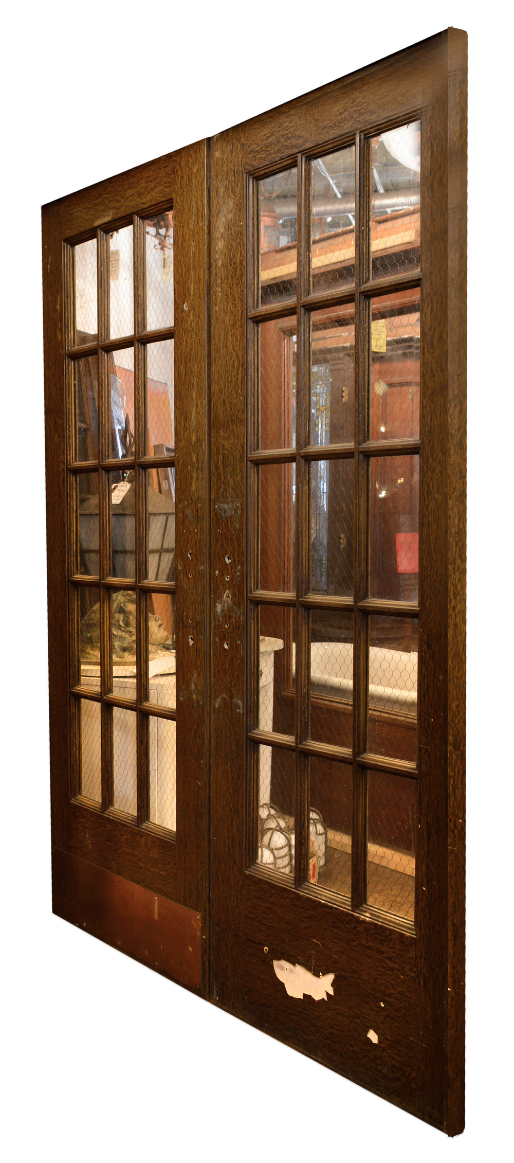 Chicken wire glass panel doors architectural antiques for Double doors for back door