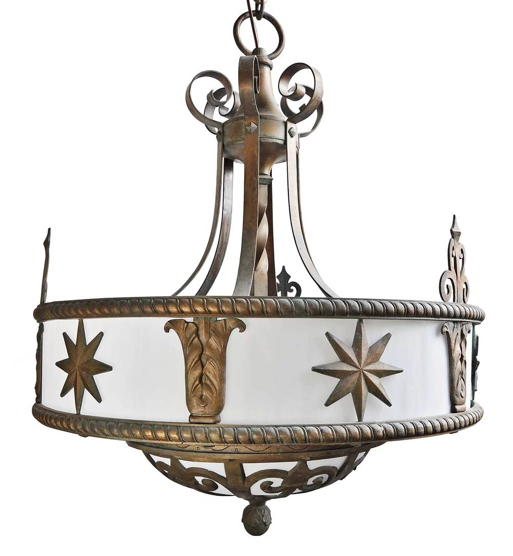 LARGE BRONZE CHANDELIER WITH STARS
