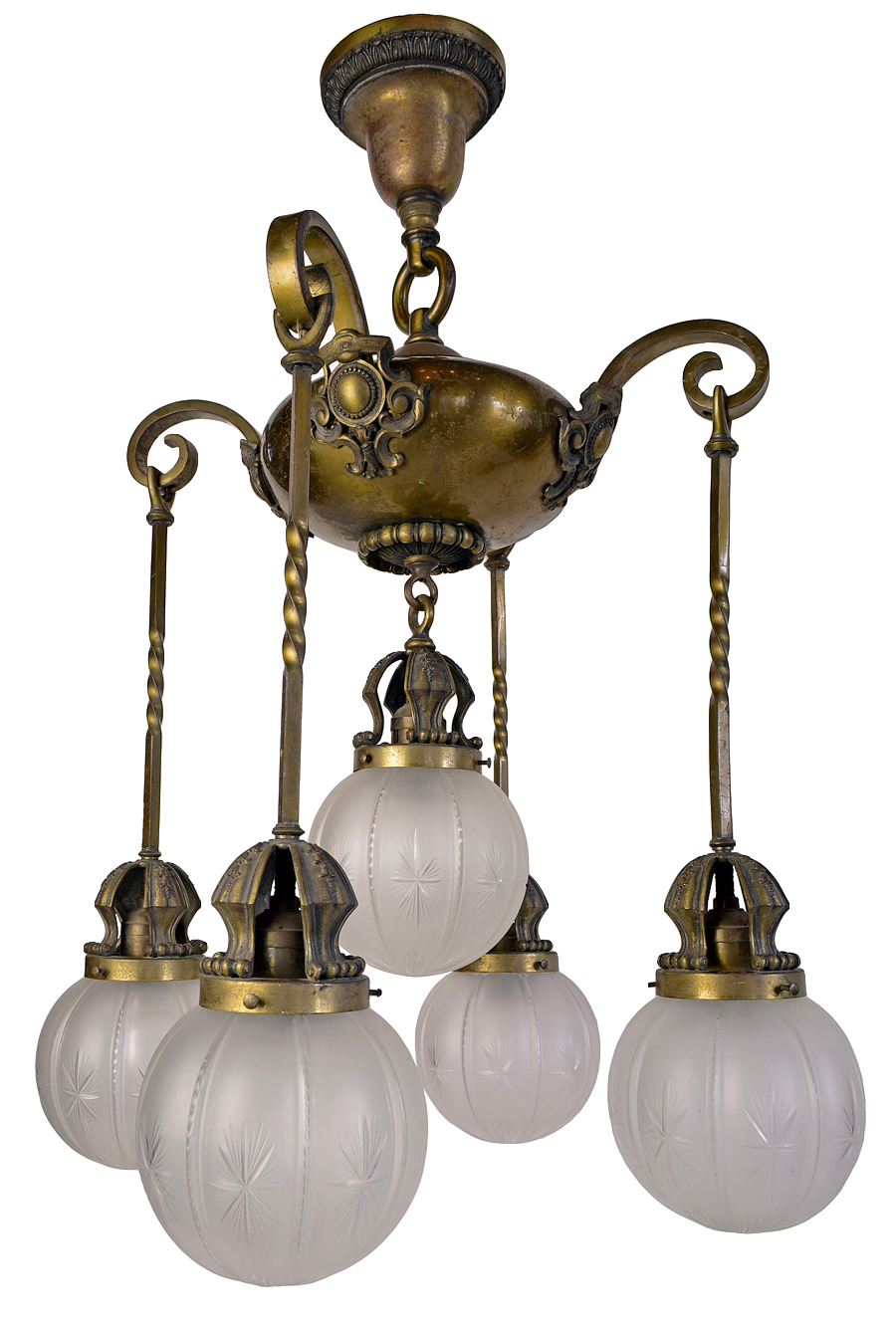 FIVE-SHADE BRASS FIXTURE WITH TWISTED RODS