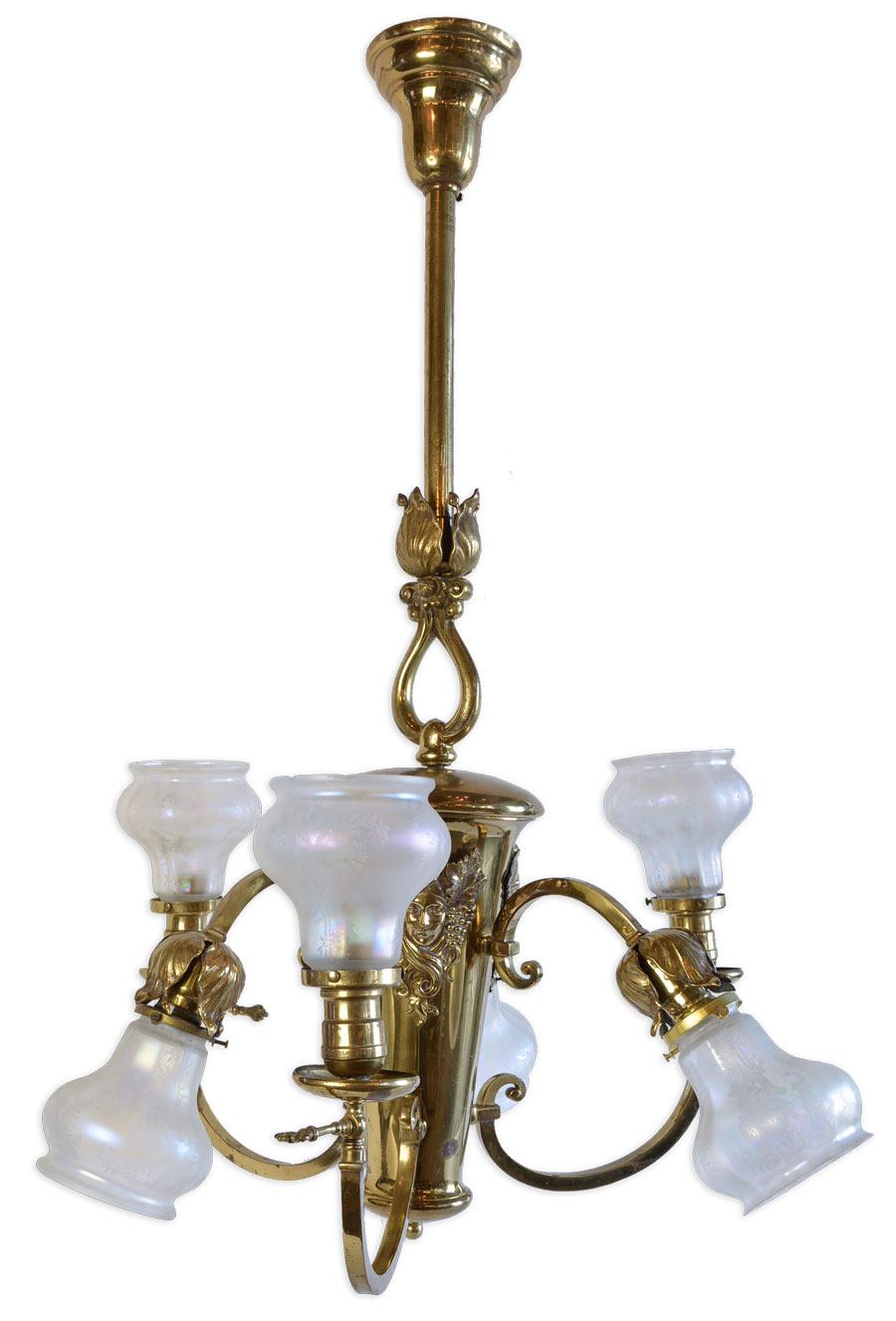 SIX-LIGHT POLISHED BRASS CHANDELIER WITH CAMEO